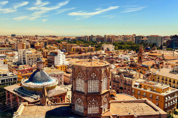 aerial view of the old town of Valencia, Spain Stock photo © nito