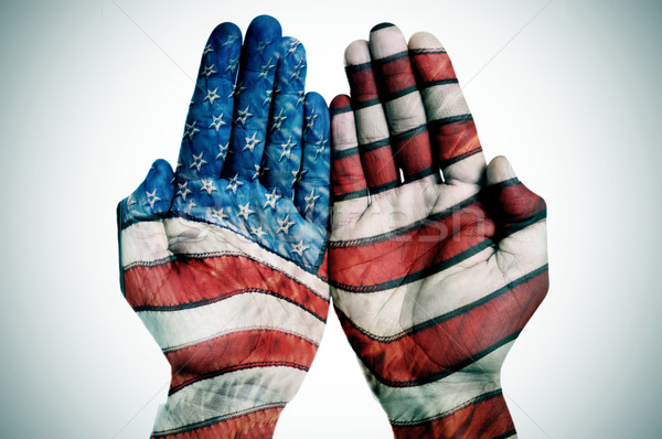 hands patterned with the US flag Stock photo © nito