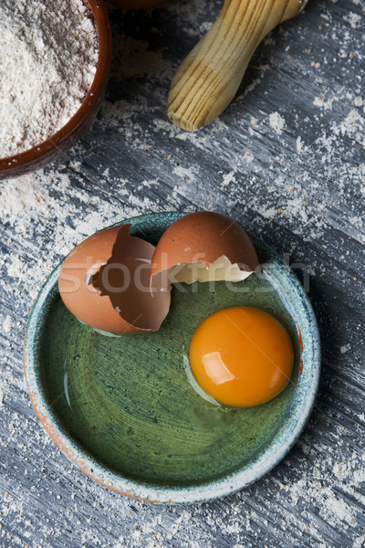 eggs, flour and rolling pin Stock photo © nito