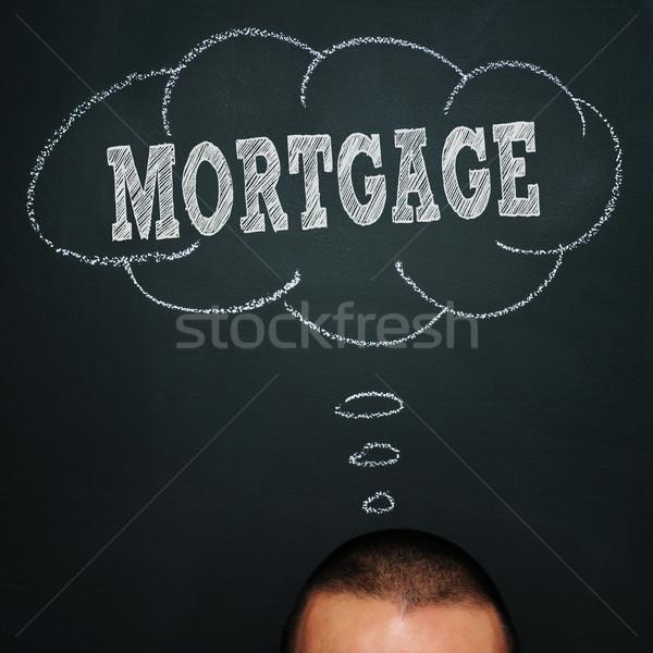 Hypothèque homme tableau noir bulle de pensée mot Photo stock © nito