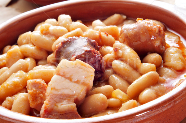 fabada asturiana, typical spanish bean stew Stock photo © nito