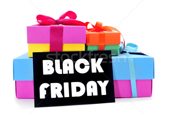gifts and a signboard with the text black friday Stock photo © nito