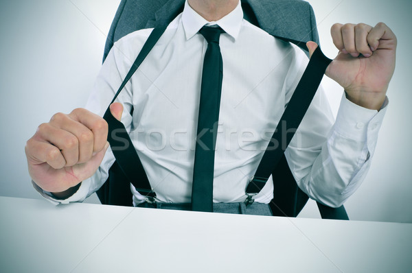 businessman in suspenders in the office Stock photo © nito