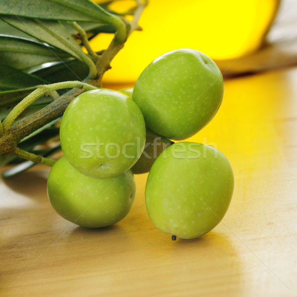 branch of olive tree and olive oil Stock photo © nito