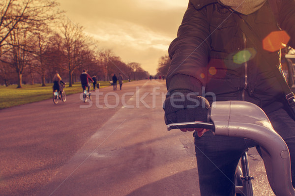 man riding a bicycle in Hyde Park in London, United Kingdom Stock photo © nito