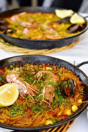 spanish fideua, a typical noodles casserole Stock photo © nito