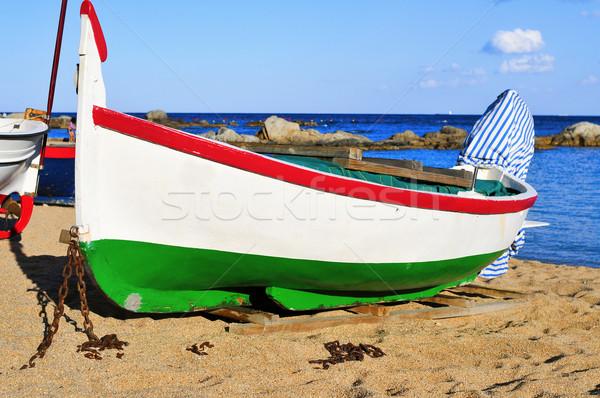 old fishing boat stranded in Calella de Palafrugell, Costa Brava Stock photo © nito