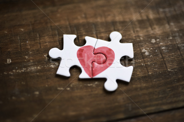 pieces of a puzzle forming a heart Stock photo © nito