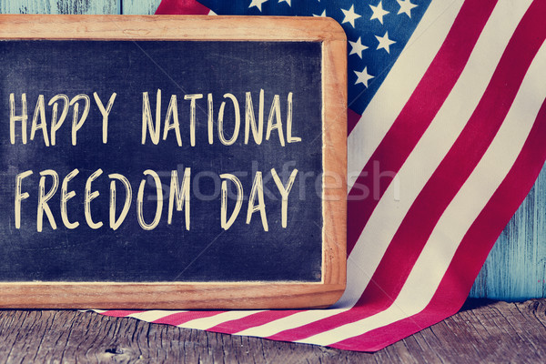 text happy national freedom day and american flag Stock photo © nito