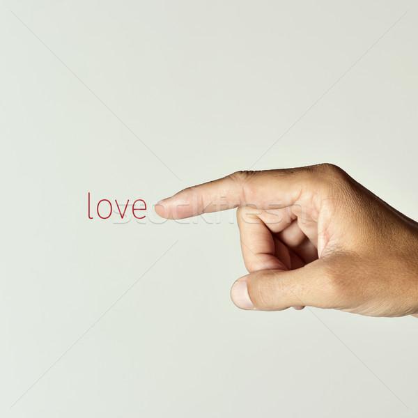 Adam işaret kelime sevmek işaret parmağı Stok fotoğraf © nito
