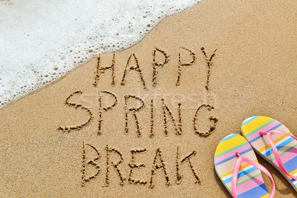 Szöveg boldog tavaszi szünet homok közelkép írott Stock fotó © nito
