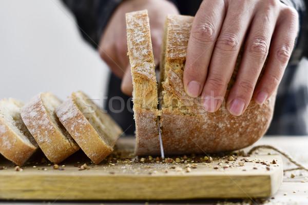 Foto stock: Homem · pão · jovem · caucasiano