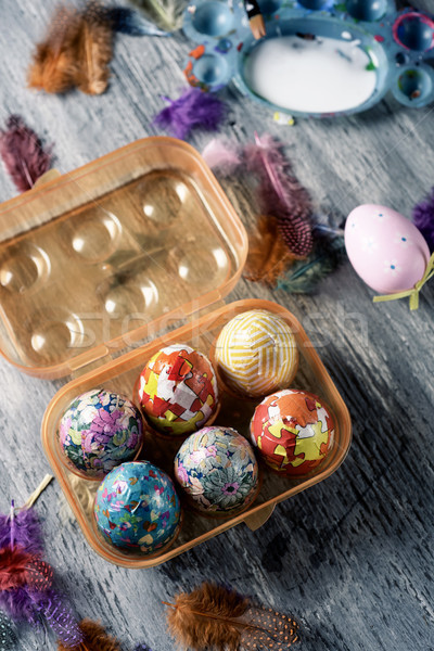homemade decorated easter eggs in an egg box Stock photo © nito