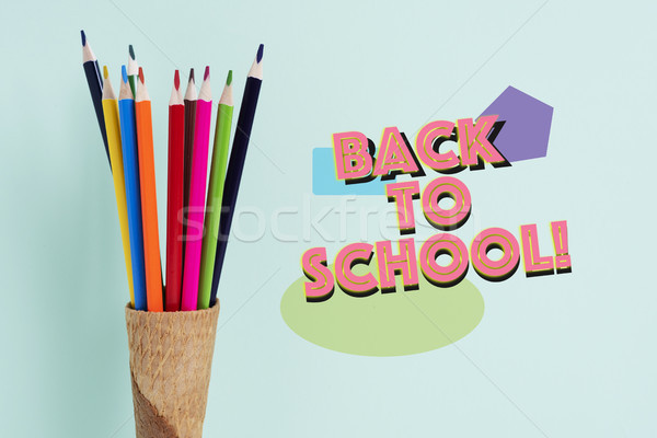 pencils in a waffle cone and text back to school Stock photo © nito