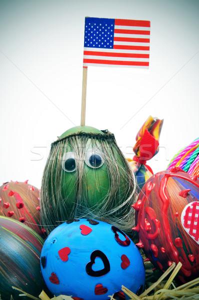 Paskalya yumurtası boyalı farklı renkler desen Stok fotoğraf © nito