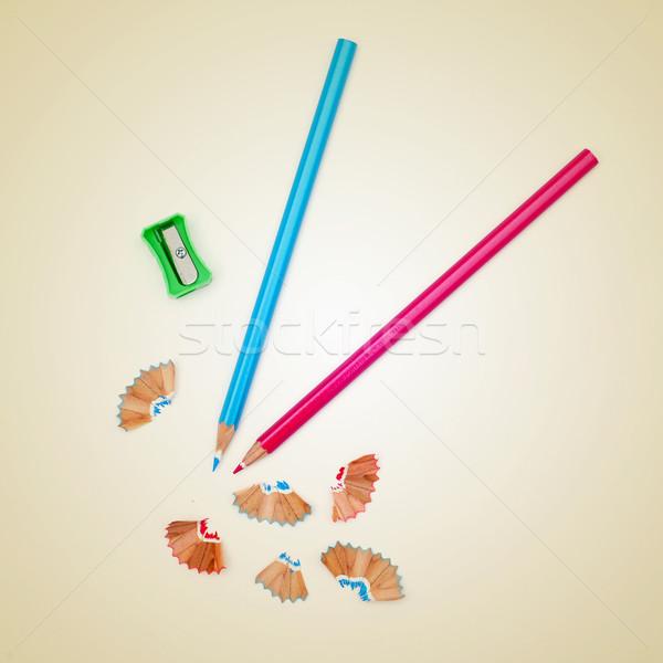 Kolorowy ołówki zdjęcie farbują temperówka beżowy Zdjęcia stock © nito