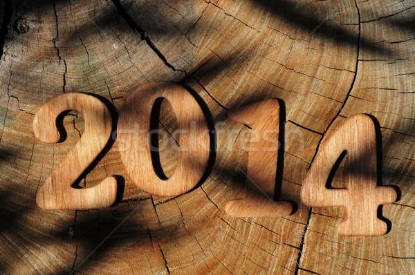 2014 nieuwjaar geschreven houten nummers oppervlak Stockfoto © nito