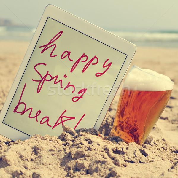 Sör szöveg boldog tavaszi szünet tabletta tengerpart Stock fotó © nito