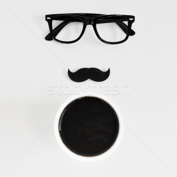 eyeglasses, moustache and cup of coffee Stock photo © nito