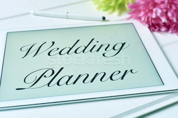 Szöveg esküvő tervező képernyő tabletta táblagép Stock fotó © nito