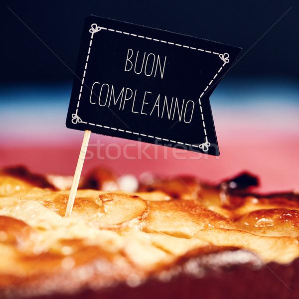 cake with text buon compleanno, happy birthday in italian Stock photo © nito