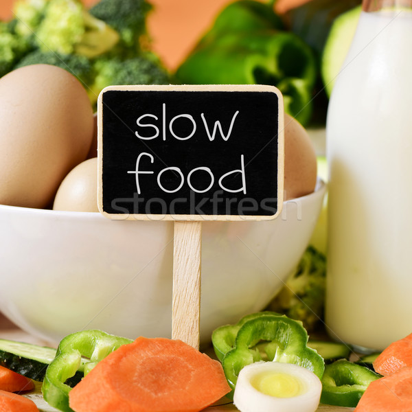 eggs, milk, vegetables and text slow food Stock photo © nito