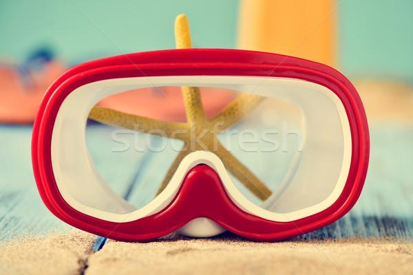 Zand duik masker zeester Rood Stockfoto © nito