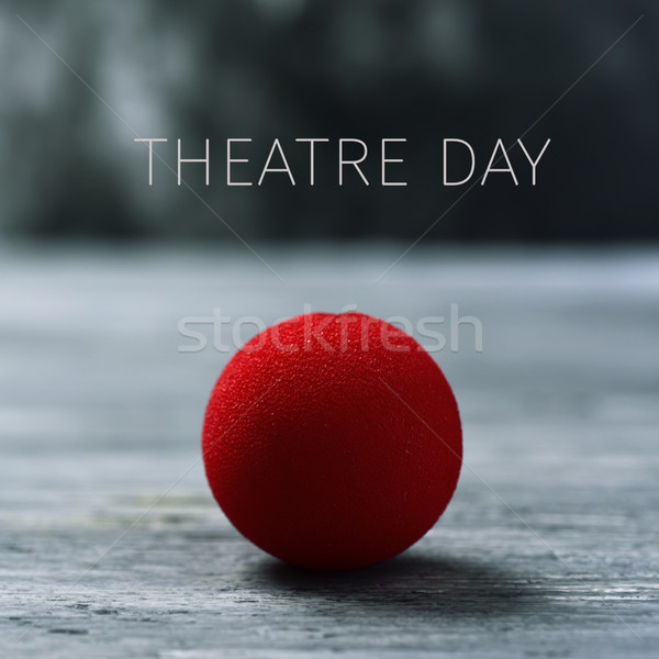 clown nose and text theatre day Stock photo © nito