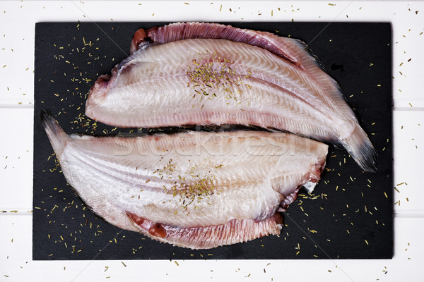 raw filleted common sole Stock photo © nito