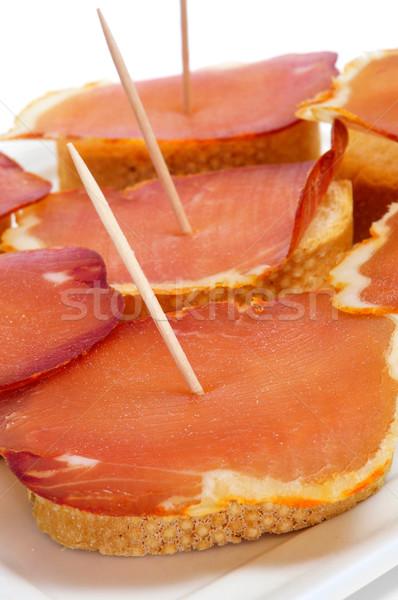 spanish lomo embuchado sandwiches served as tapas Stock photo © nito