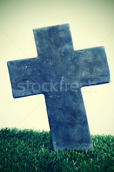 stone cross of a grave in a cemetery  Stock photo © nito