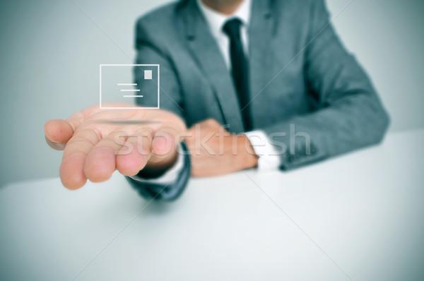 Biznesmen list posiedzenia biurko ikona strony Zdjęcia stock © nito