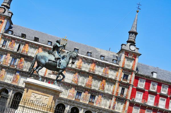 Madryt Hiszpania widoku posąg króla Zdjęcia stock © nito
