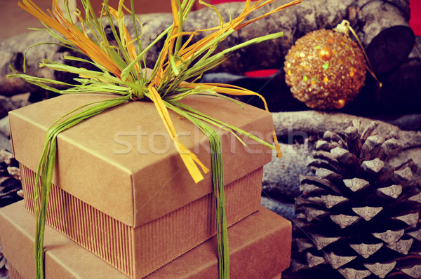 gift boxes tied with natural raffia of different colors on a rus Stock photo © nito