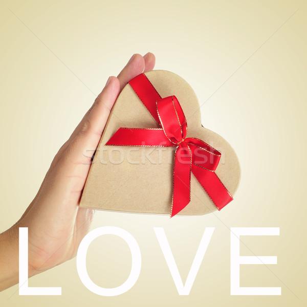 Dom palavra amor caixa de presente mão Foto stock © nito