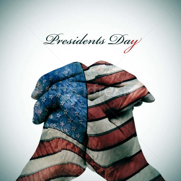 text Presidents Day and man hands patterned with the flag of the Stock photo © nito