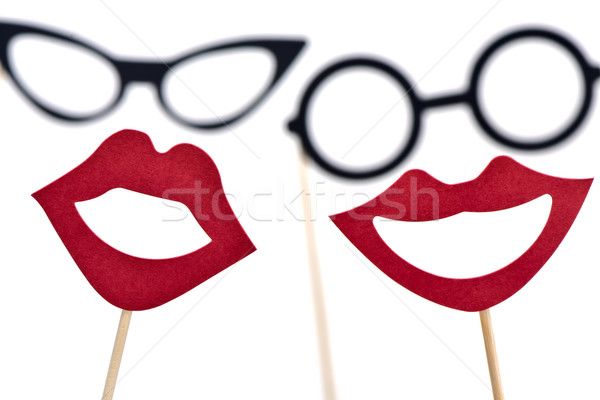 eyeglasses and mouths as a man and a woman Stock photo © nito