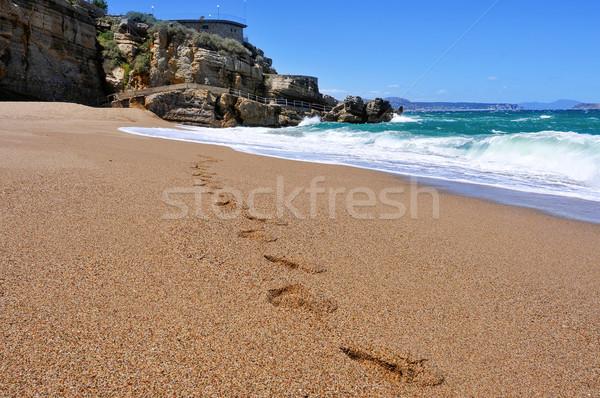 ビーチ スペイン 足跡 砂 自然 海 ストックフォト © nito