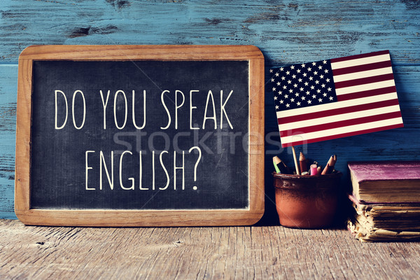 question do you speak English? in a chalkboard Stock photo © nito
