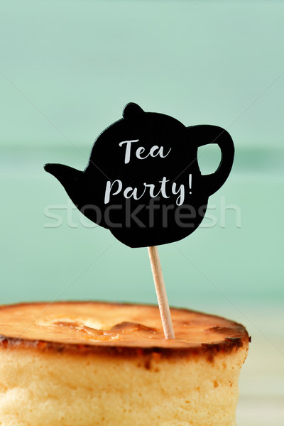 text tea party in a teapot-shaped signboard Stock photo © nito