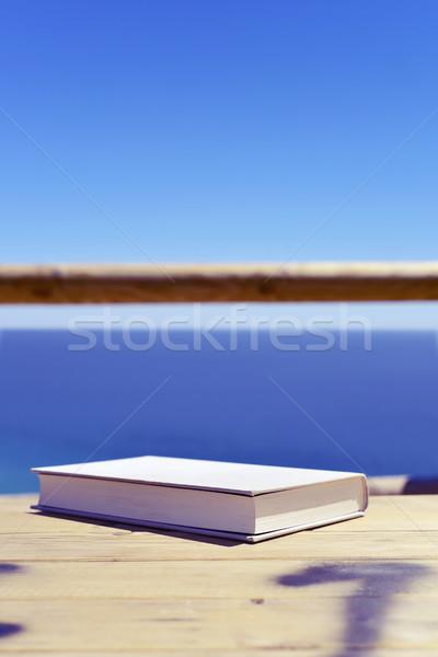 Książki ocean szary okładka drewniany stół Zdjęcia stock © nito