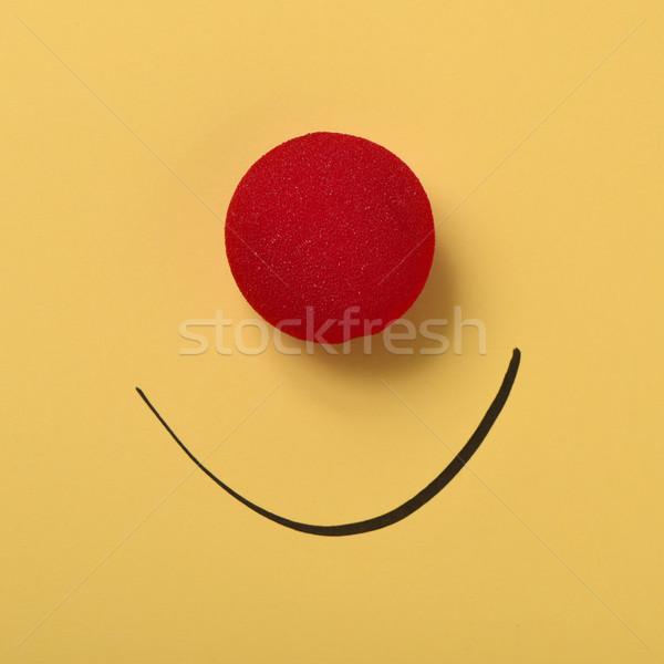 Vicces arc piros bohóc orr mosoly rajzolt Stock fotó © nito