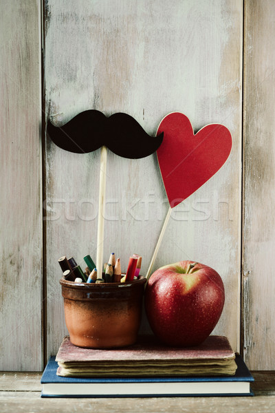 Stock photo: moustache, heart, pencils, apple and books
