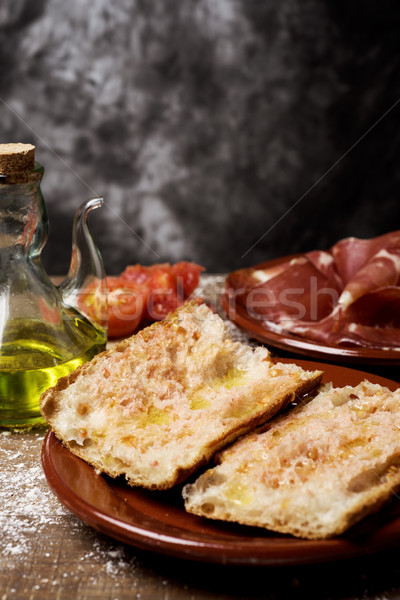 catalan pa amb tomaquet with serrano ham Stock photo © nito