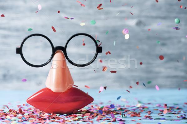 Sahte gözlük burun ağız çift Stok fotoğraf © nito