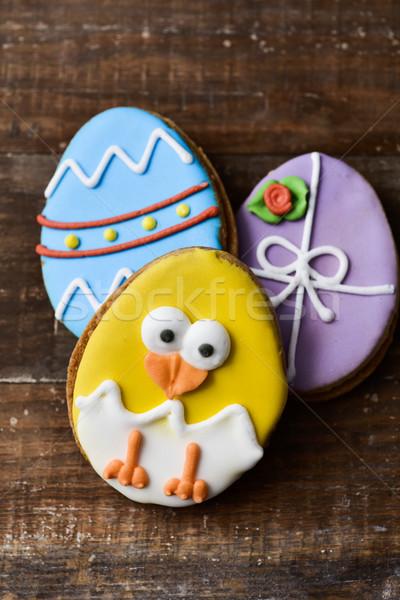 Bolinhos decorado ovos de páscoa engraçado pintinho Foto stock © nito
