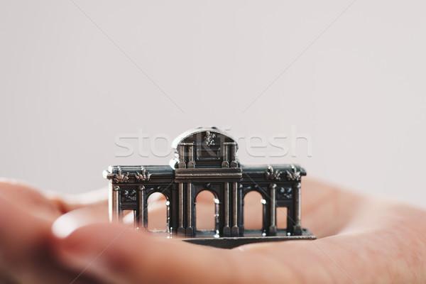 Miniatűr Madrid Spanyolország kéz fiatalember üres hely Stock fotó © nito