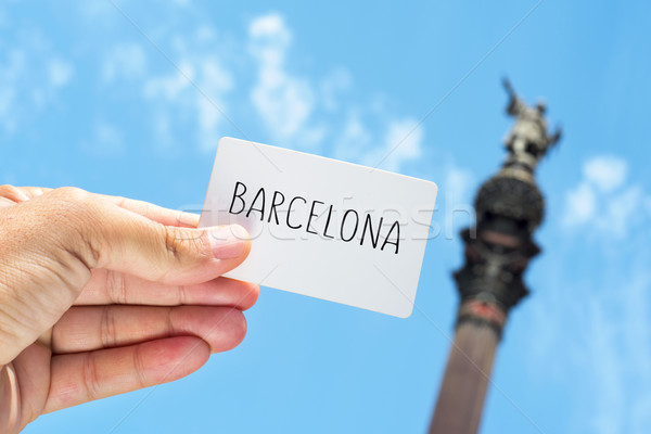 signboard with the text Barcelona, with the Columbus Monument in Stock photo © nito