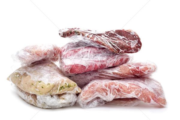 ストックフォト: 凍結 · 生 · 肉 · プラスチック · 豚肉 · 鶏