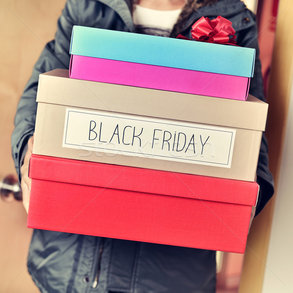 человека коробки текста счастливым черная пятница Сток-фото © nito